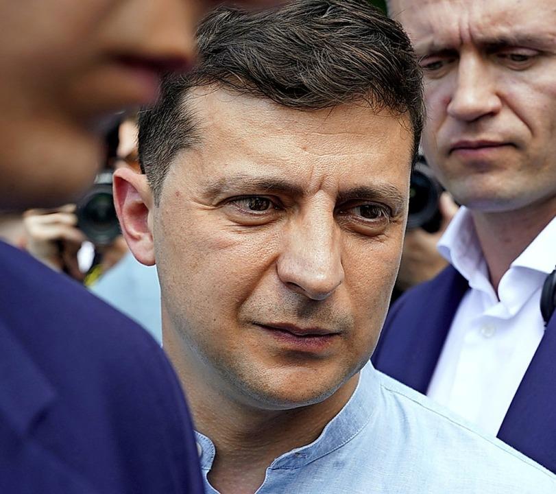 Wolodymyr Selenskyj auf dem Weg zur Wahl  | Foto: Evgeniy Maloletka (dpa)