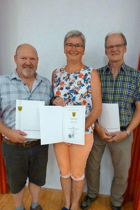 Aus dem Ortschaftsrat ausgeschieden si...ias Bauer, Ruth Köbele und Peter Wolf.  | Foto: Christine Weirich