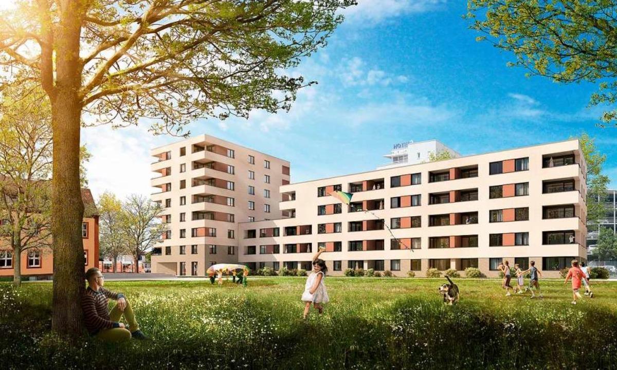 Im Stadtbau-Projekt Breisacher Hof ent...rn neue Wohnungen und Gewerbeflächen.   | Foto: Freiburger Stadtbau
