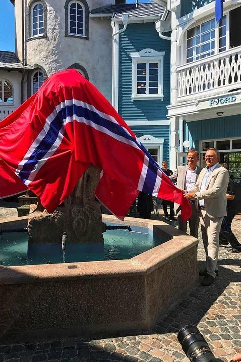 Bei der Eröffnungsfeier wird der Brunnen enthüllt.  | Foto: Tamara Keller