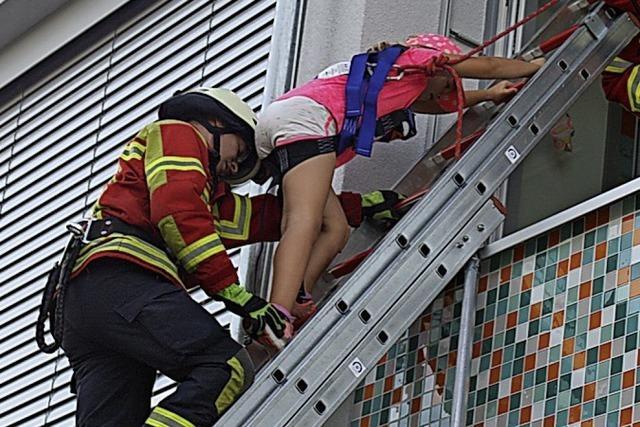 Testlauf für den Brandschutz der Schule
