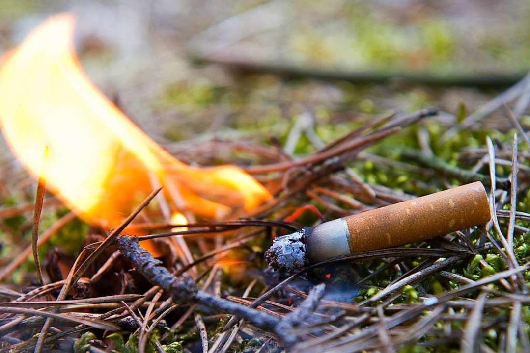 Weggeworfene Kippen können ein Feuer e...hen im Wald bis Ende Oktober verboten.  | Foto: Patrick Pleul