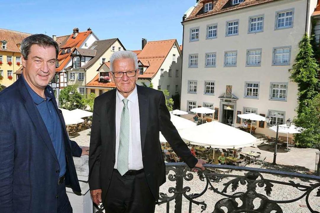 Meersburg: Markus Söder, bayerischer M...itzung auf einem Balkon des Schlosses.  | Foto: Karl-Josef Hildenbrand (dpa)