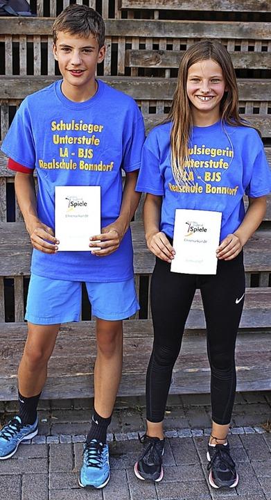 Unterstufensieger Mara Heer und Leon Duttlinger.   | Foto: Ulrike Dietsche