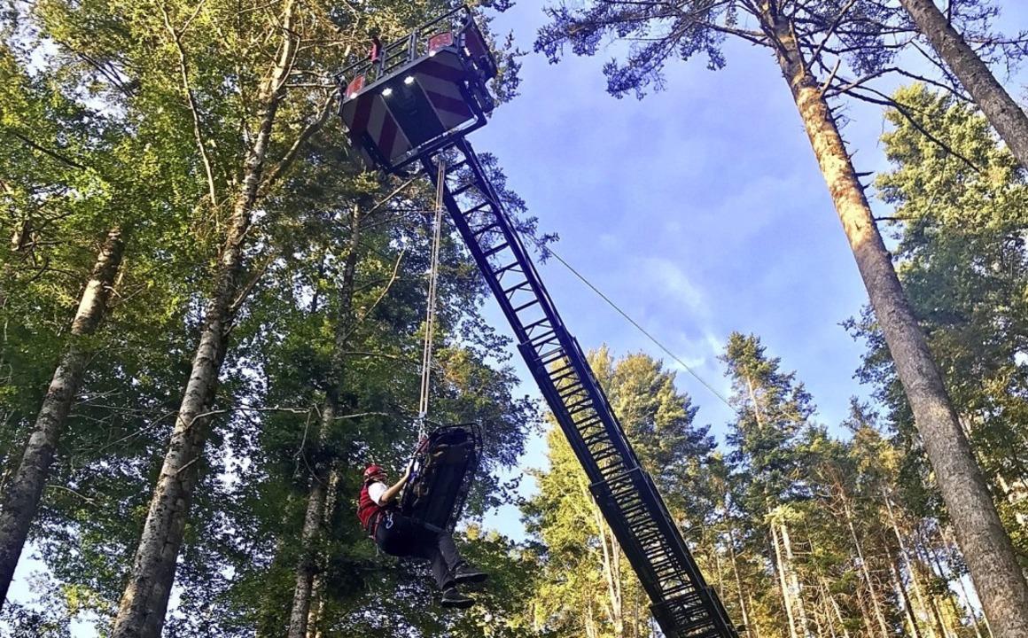 Mit der Drehleiter bargen die Kräfte e...; Waldarbeiter aus unwegsamem Gelände.  | Foto: Bergwacht Todtmoos
