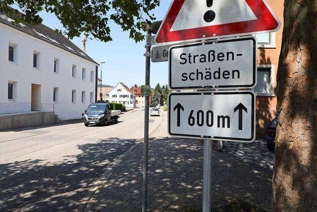 Die Baustelle im Lahrer Stadtteil Reichenbach dauert 1 Jahr lang