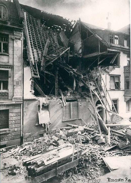 Luftangriffe auf Freiburg gab es nicht...eg: Zerstörung in der Innenstadt 1917.    Foto: Stadtarchiv Freiburg
