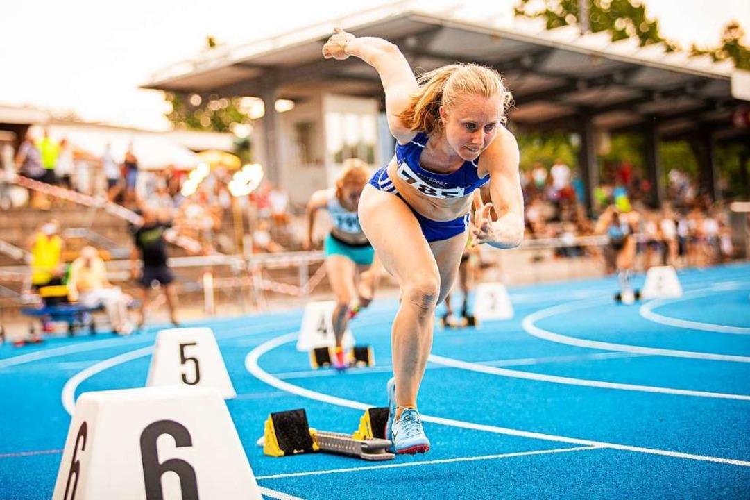 Cornelia Wülbeck (USC Freiburg) beim  400-Meter-Lauf.  | Foto: Sebastian Sternemann