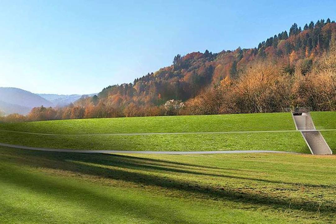 Der Damm im Bohrertal hinter Günterstal kann nun gebaut werden.   | Foto: Visualisierung: Stadt Freiburg