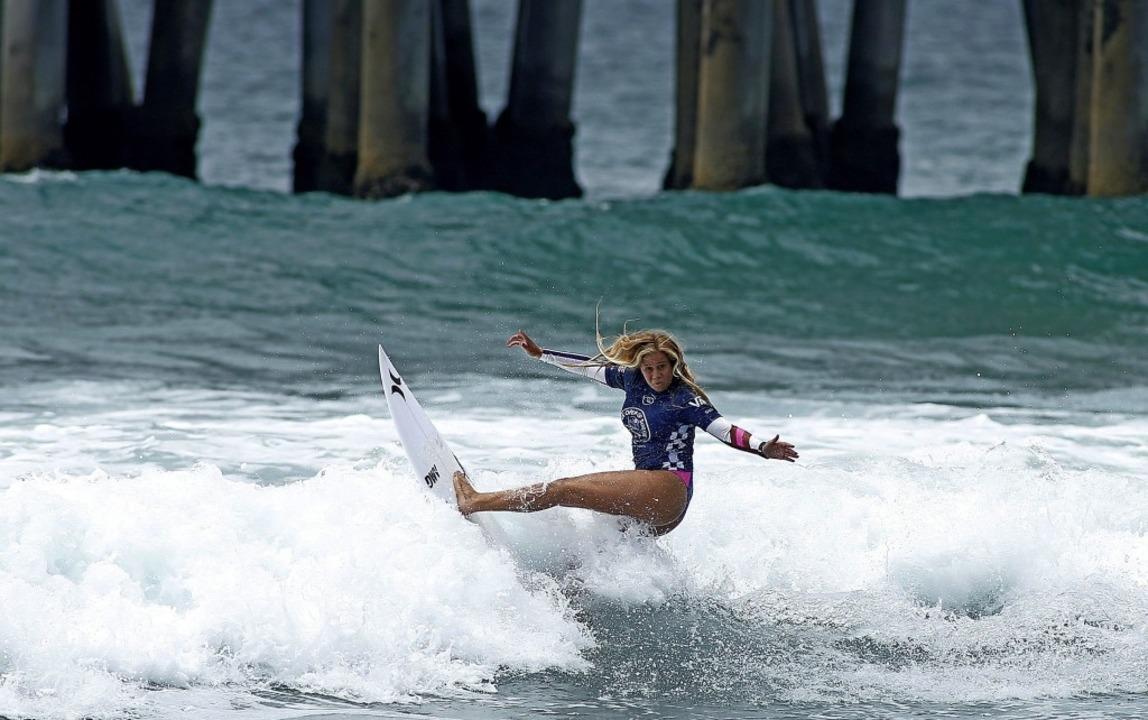 In ihrem Element: Rachel Presti bei ei...on Beach im US-Bundesstaat Kalifornien  | Foto: Katharine Lotze (AFP)