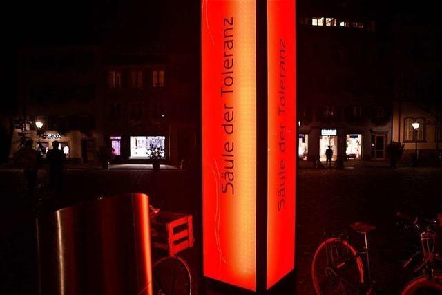 Die Säule der Toleranz in Freiburg wird zeitweise abgeschaltet