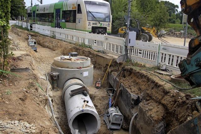 Kanalbau an der Bahnlinie