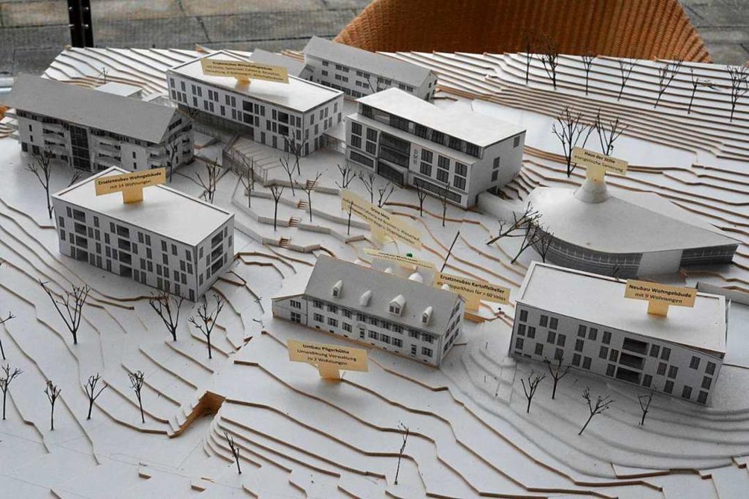 Das Modell zeigt die geplante verdichtete Bebauung auf dem St. Chrischona-Hügel.  | Foto: Annette Mahro