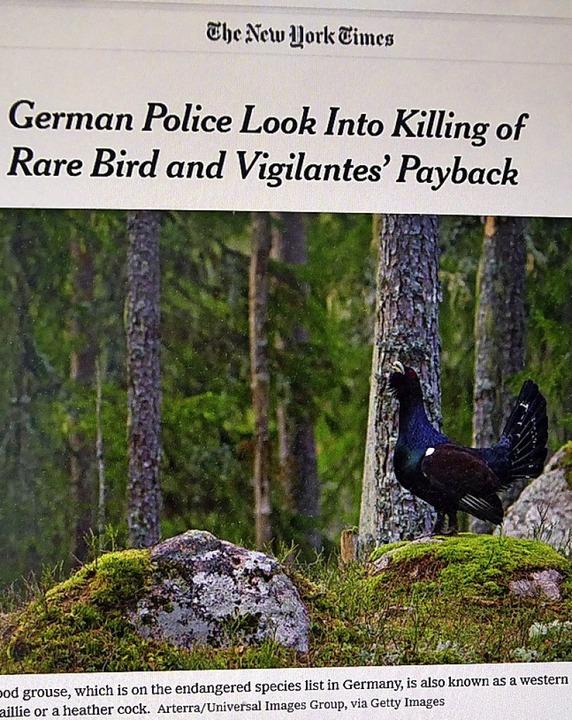 Auerhahn-Schlagzeile der New York Times  | Foto: Peter Stellmach
