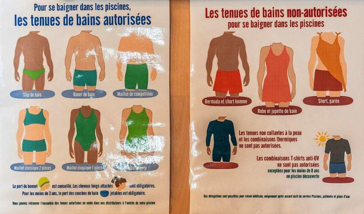 Im Straßburger Freibad im Stadtteil Wa...e mit Hinweisen zur Kleidervorschrift.  | Foto: stadt kehl