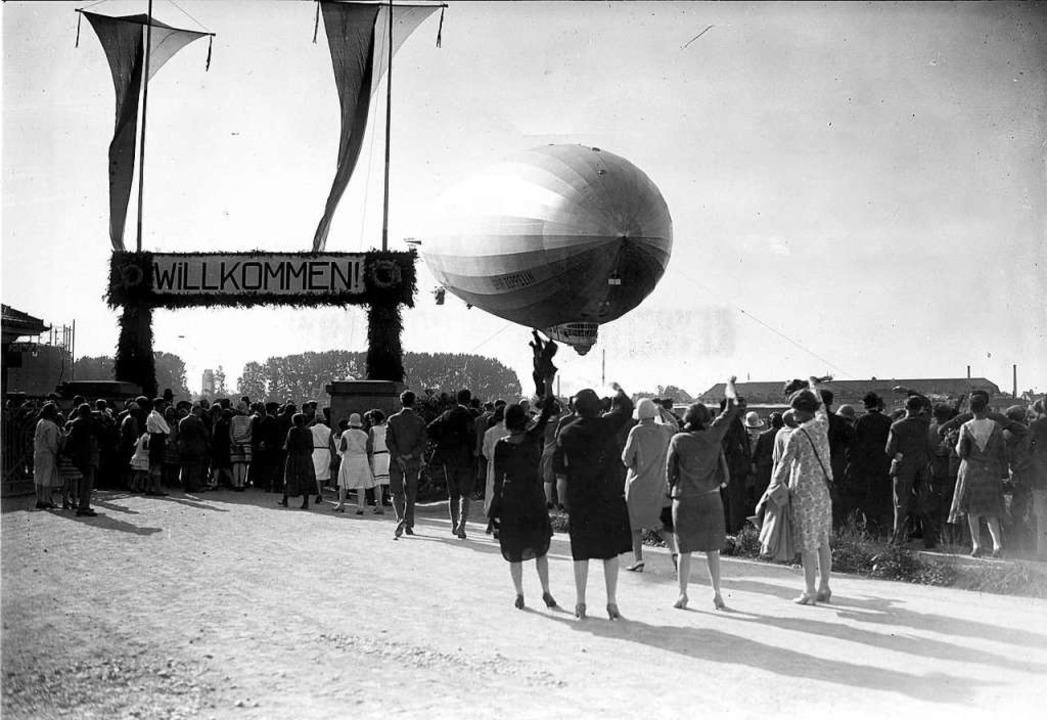 Das Ende der Weltumsegelung: Am 4. Sep...kehrenden Zeppelin in Friedrichshafen.  | Foto: Archiv der Luftschiffbau Zeppelin GmbH, Friedrichshafen