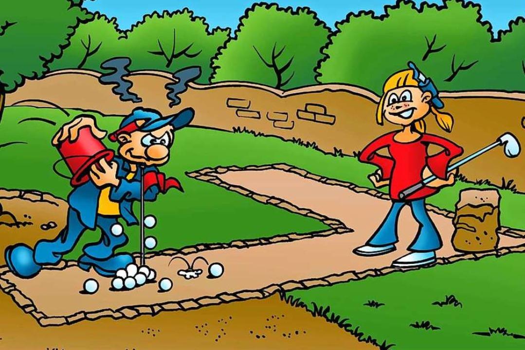 """Bahnen bitte betreten"": Adventure Mini.Golf.Park    Foto: F. Terell"