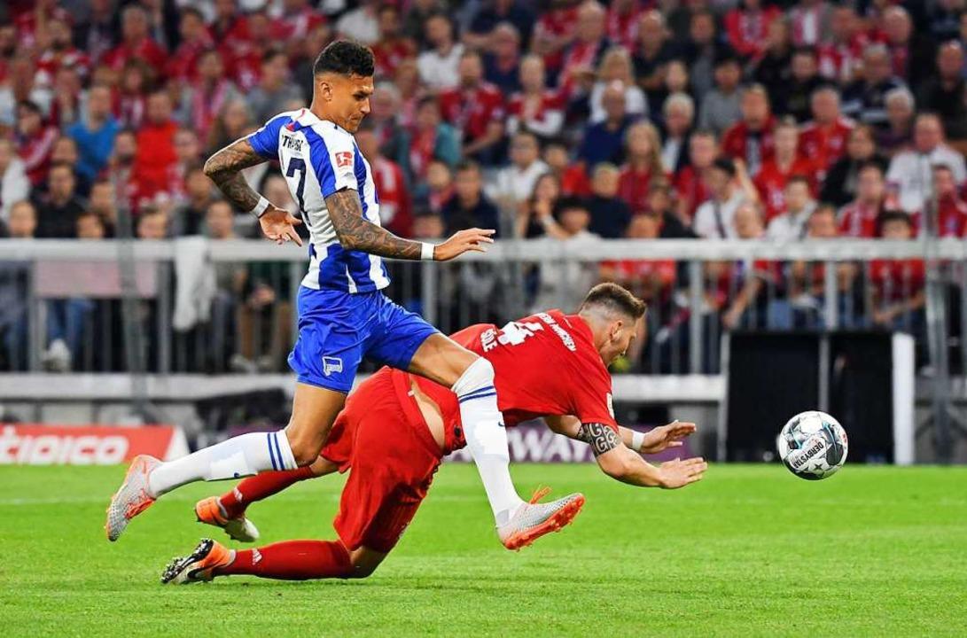 Saisoneröffnung: Der FC Bayern spielte am Freitagabend gegen Hertha BSC.    Foto: Sven Hoppe (dpa)