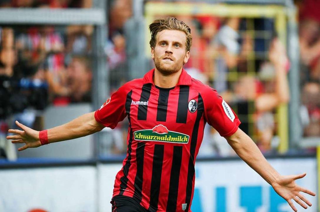 Lucas Höler kam erst 25 Minuten vor dem Ende – sorgte aber für das 1:0.  | Foto: Patrick Seeger (dpa)