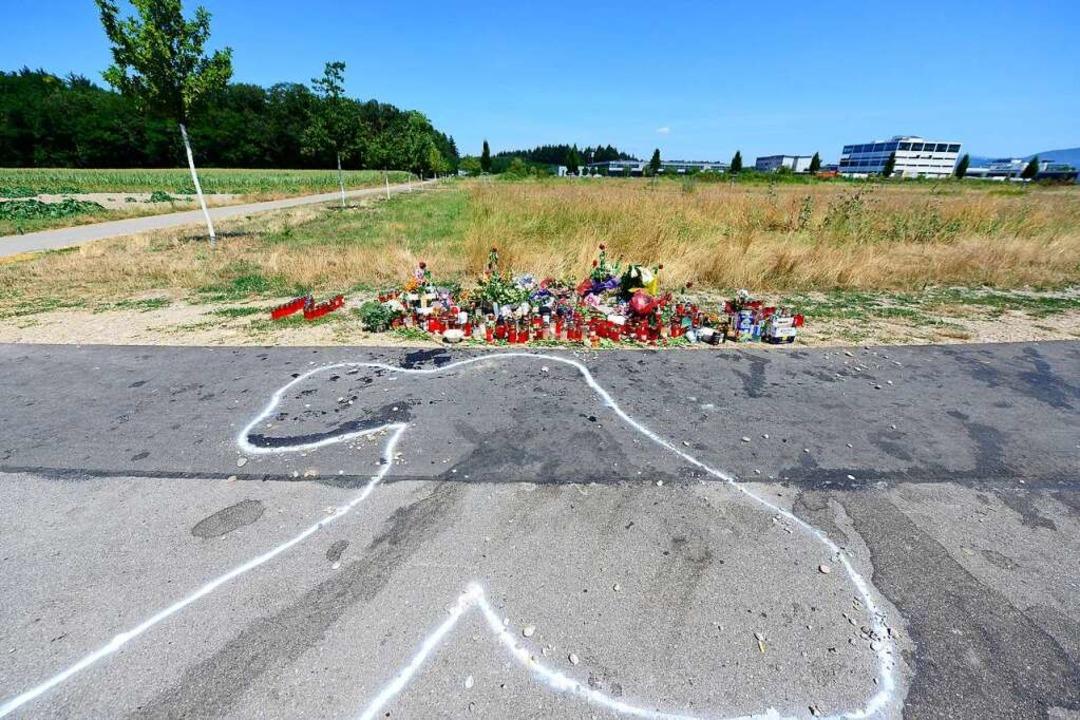 Am Fundort der Leiche des 24-Jährigen ...ns Ende Juli Kerzen und Blumen nieder.  | Foto: Ingo Schneider