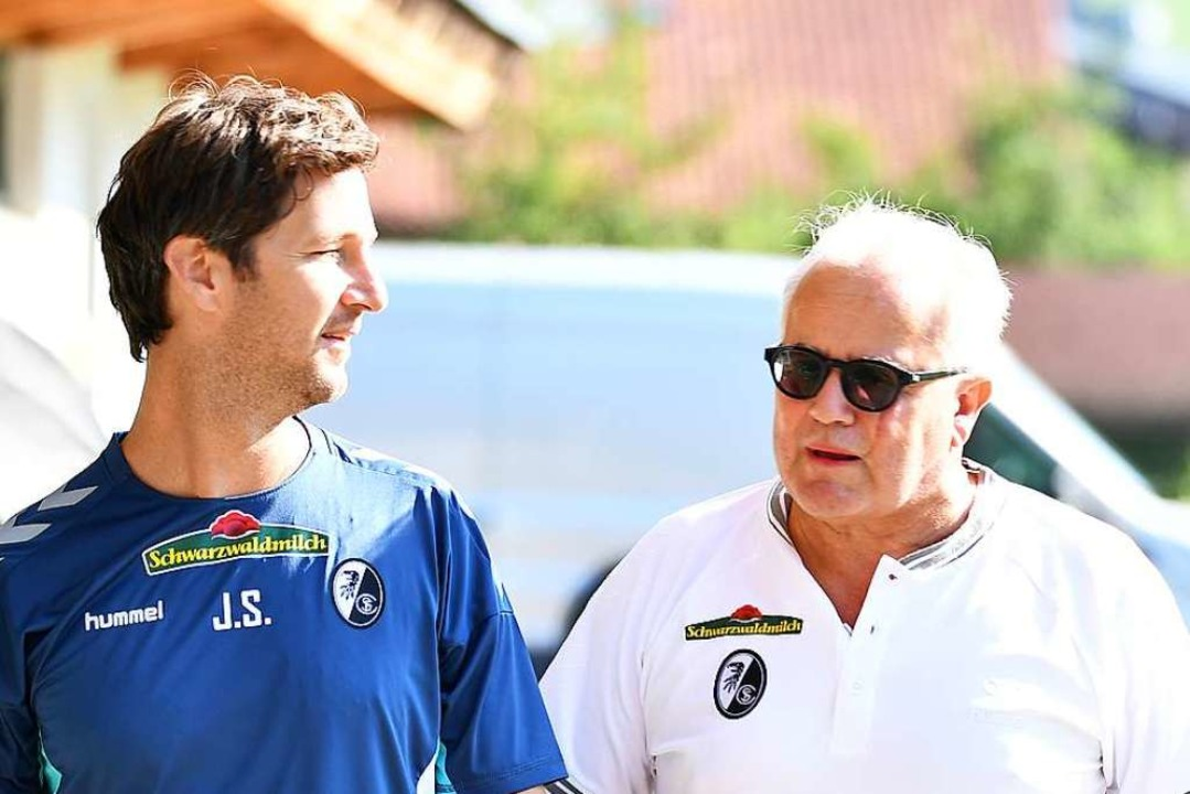 Jochen Saier mit SC-Präsident Fritz Keller (rechts).  | Foto: Achim Keller