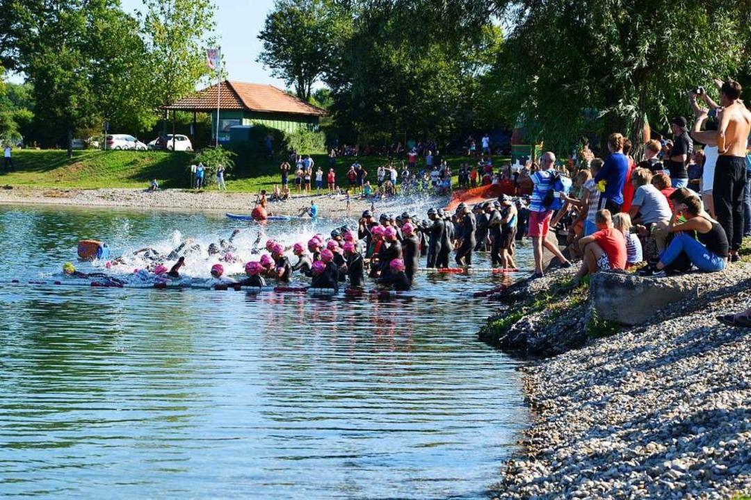 Fast 250 Teilnehmer starteten zum 29. ...e Mitteldistanz in den Müller-Badesee.  | Foto: Karl-Hermann Murst