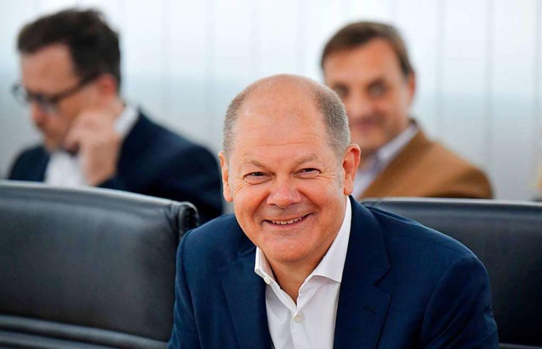 Vizekanzler Olaf Scholz am Montag bei der Präsidiumssitzung der SPD  | Foto: TOBIAS SCHWARZ (AFP)