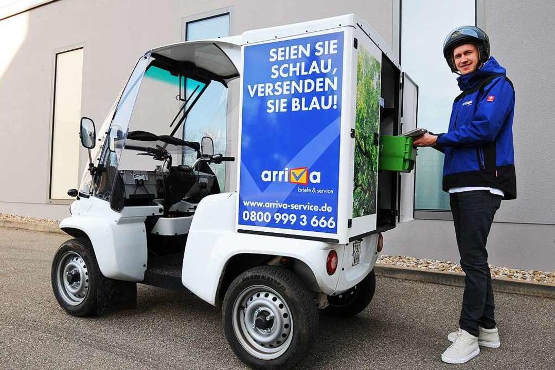 Der Paxster, mit dem arriva täglich umweltschonend Briefe und Pakete zustellt.  | Foto: arriva GmbH