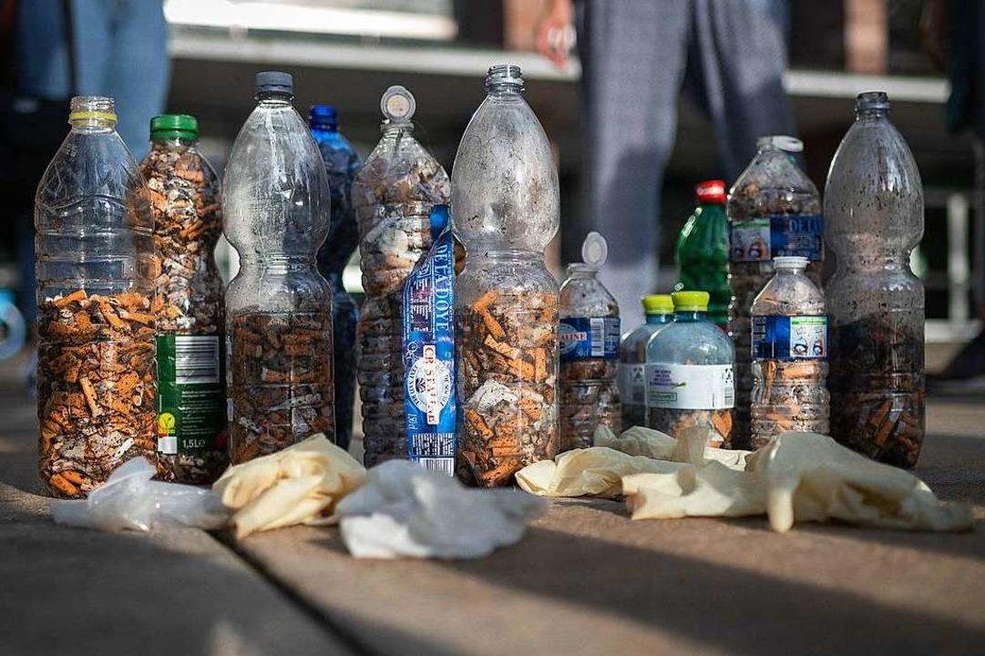 Die Ausbeute der Fill-the-Bottle-Challange in Freiburg.  | Foto: Peter Herrmann