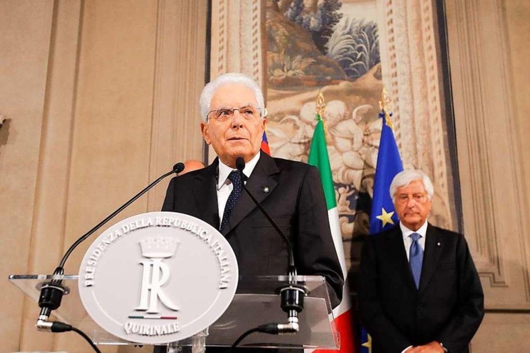 Sergio Mattarella, Präsident von Itali...nde erster Gespräche mit den Parteien.  | Foto: Alessandra Tarantino (dpa)