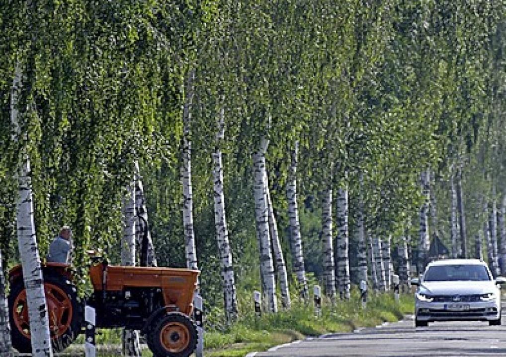 Traktoren und Autos teilen sich oft eine Straße.  | Foto: Stefan Puchner (dpa)