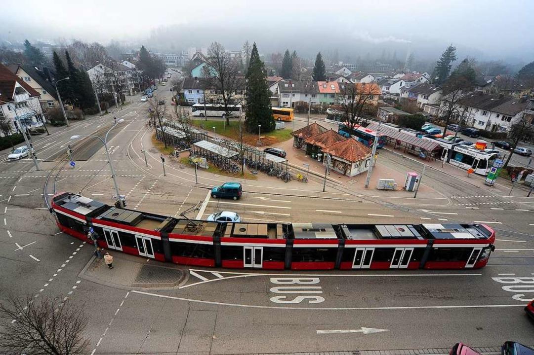 So sieht die Endhaltestelle Laßbergstraße von oben aus.  | Foto: Thomas Kunz