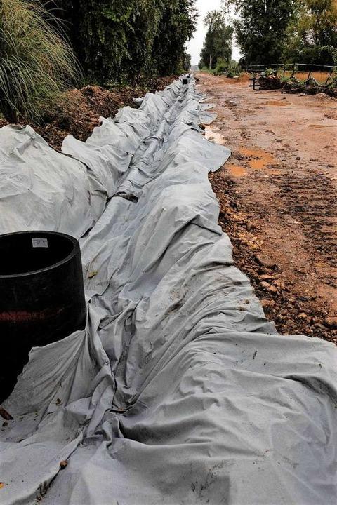 Bei Wasenweiler sind Drainagerohre unt...nn das Schotterbett aufgefüllt werden.  | Foto: Hubert Gemmert