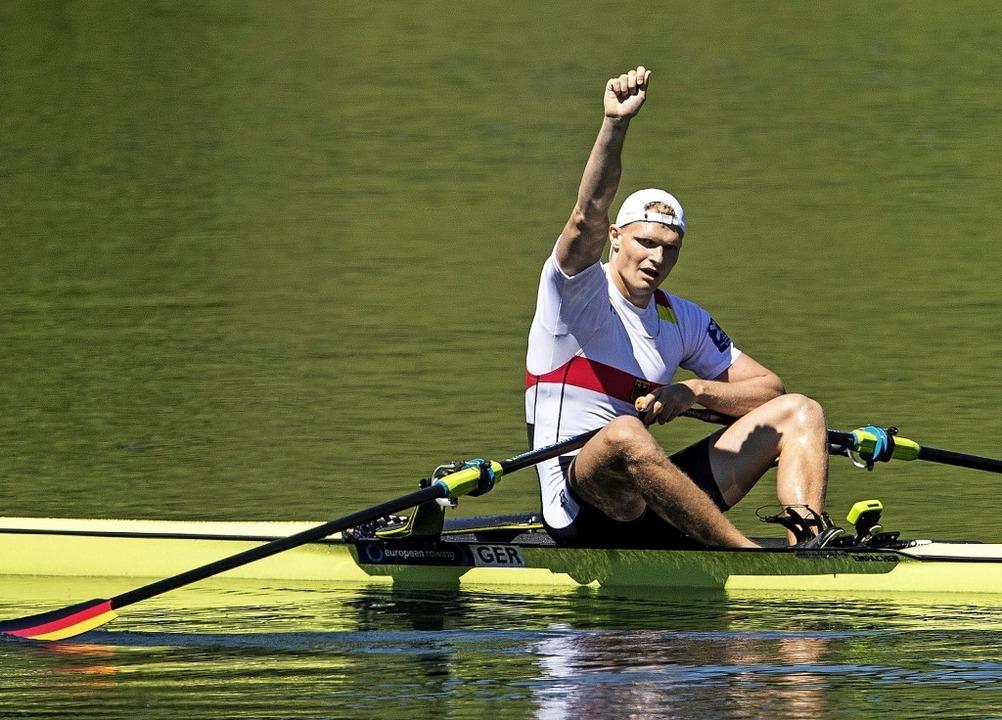 Europameister und Hoffnungsträger im Einer für die WM: Oliver Zeidler  | Foto: Alexandra Wey (dpa)