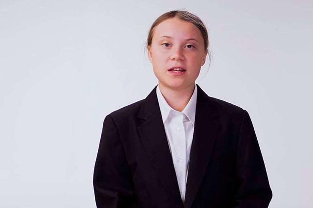 Im Kurzfilm der Woche präsentiert sich Greta Thunberg seriös in Hemd und Anzug