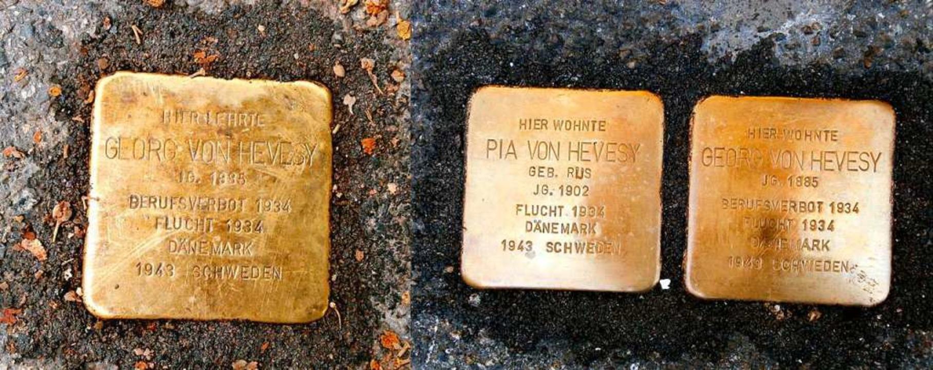 Stolperstein für Pia und Georg von Hevesy  | Foto: Wikipedia