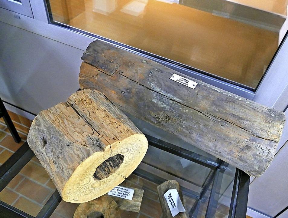 Im Ausstellungsraum finden sich  Fundstücken, wie diese Holzrohr-Stücke.  | Foto: Sylvia Sredniawa