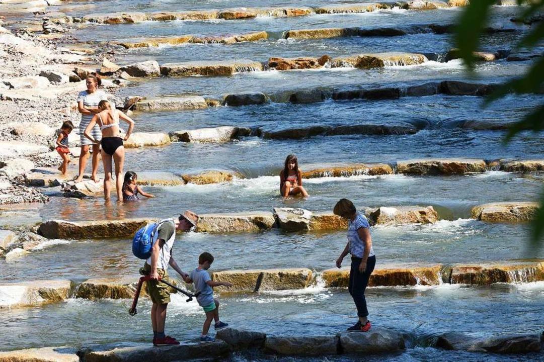 Planschen und balancieren – die Fischtreppe ist einladend.  | Foto: Rita Eggstein