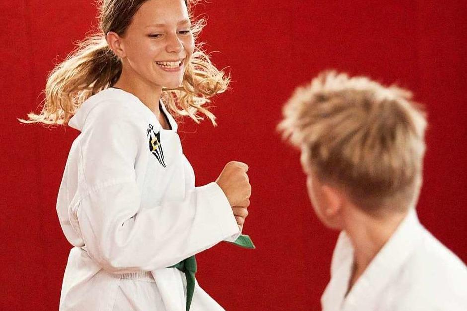 Zwei Nachwuchstalente beim Taekwondo, einer koreanischen Kampfkunst (Foto: Kilian Kreb)