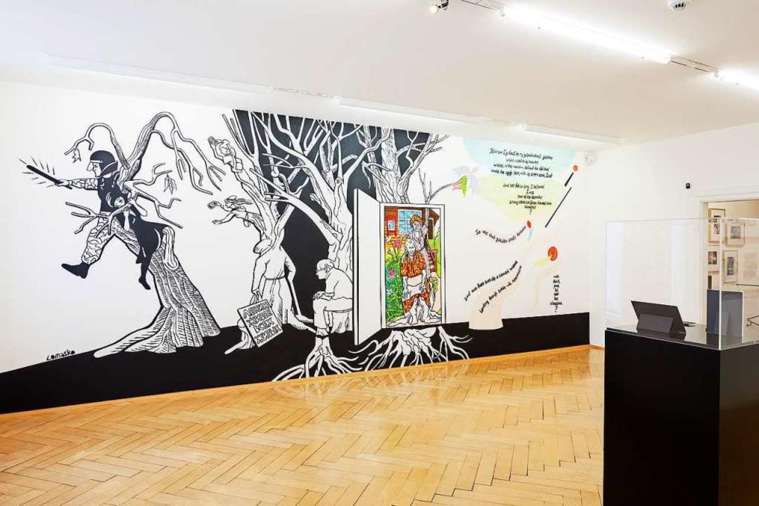 Vor Ort entstanden: Wandbild von Victoria Lomasko im Cartoonmuseum Basel  | Foto: Cartoonmuseum Basel
