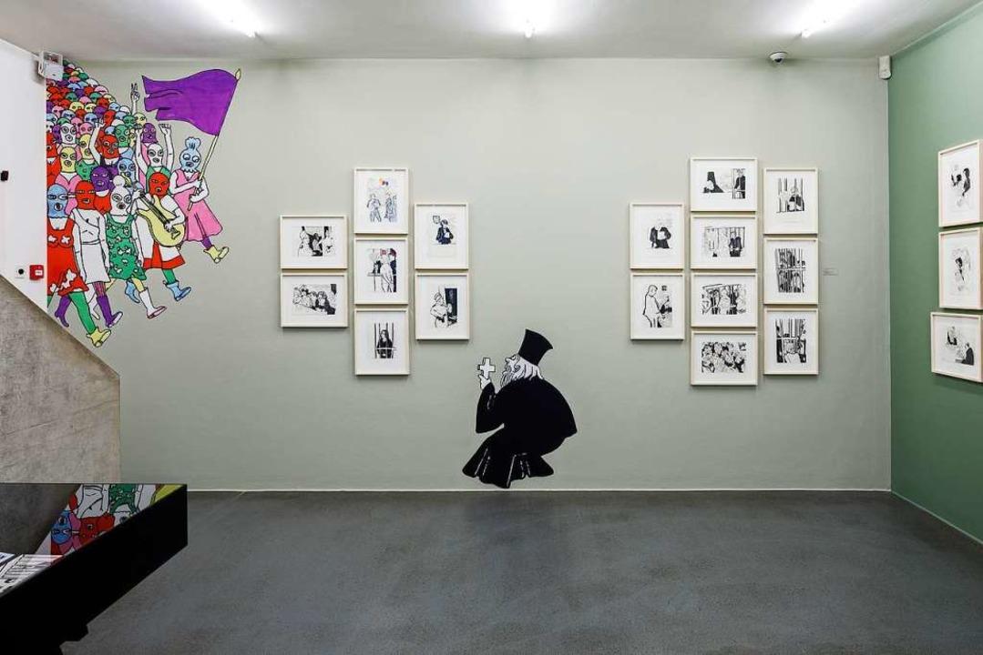 Szenen zum Prozess gegen Pussy Riot 2012  | Foto: Cartoonmuseum Basel