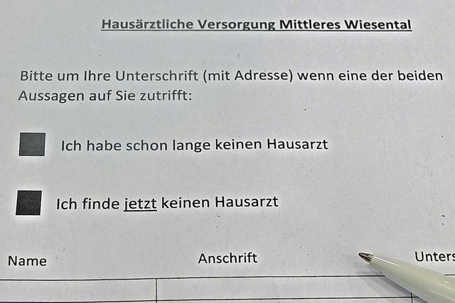 In Schopfheim laufen zwei Unterschriftensammlungen gegen den Hausarztmangel