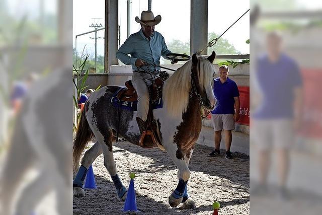 Reiter und Pferde zeigen mit Spaß, was sie können