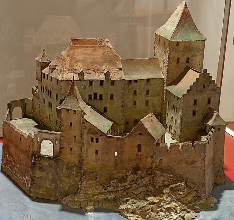 Ein Modell der Burg Stein auf der Rheininsel.    Foto: Roswitha Frey