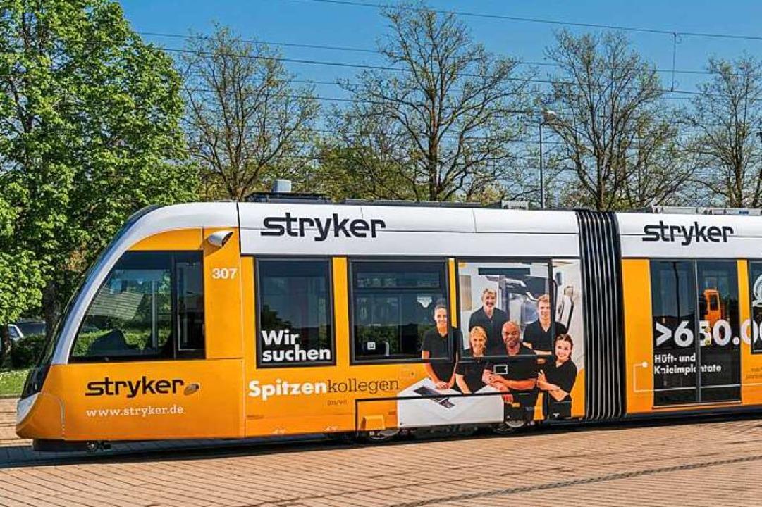 Ein halbes Dutzend Straßenbahnen sind ...om Medizintechnikunternehmen Stryker.     Foto: michael voegele