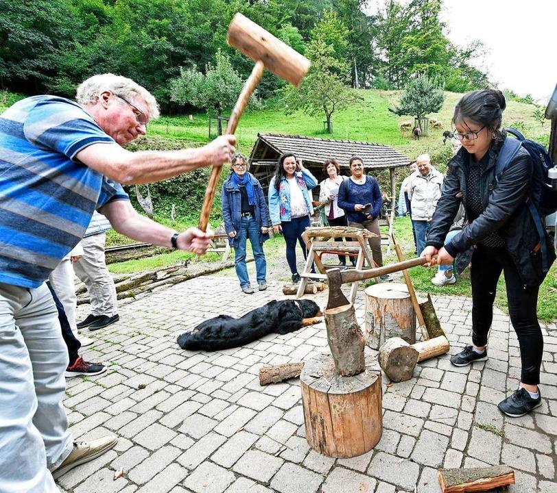 Auch Holzhacken muss gelernt werden we... im Bild) übt sich im Hammerschwingen.    Foto: Michael Bamberger