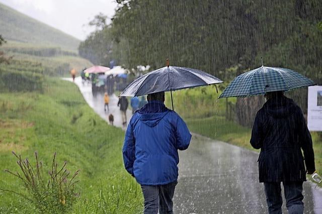Weinfreunde trotzen dem Regen