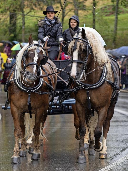 Katrin Mäder (links)  vom Reit- und Fa...ein gibt den Pferden die Richtung vor.  | Foto: Wolfgang Scheu