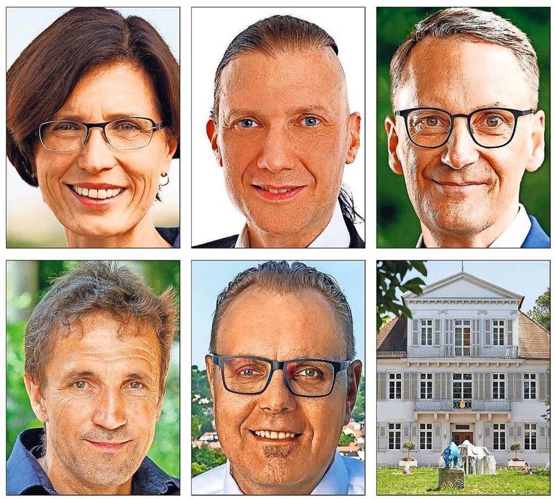 Die Kandidaten in Lahr (von links oben...oom kämpfen um den Einzug ins Rathaus.