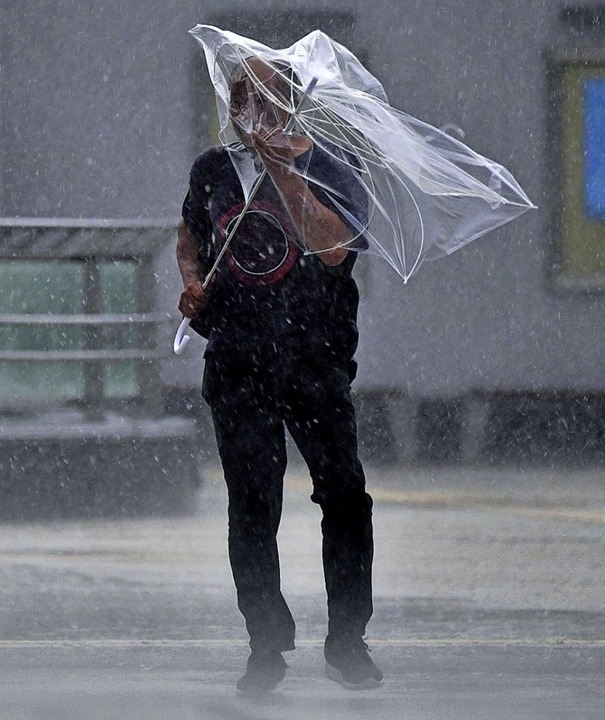 Heftige Winde und Regen überzogen die  Straßen von Tokio.   | Foto: --- (dpa)